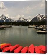 Canoe Meeting At Jackson Lake Canvas Print