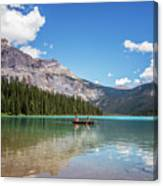 Canoe On Emerald Lake British Columbia Canvas Print