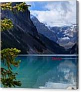 Canoe On Lake Louise Canvas Print