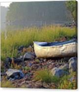 Canoe On The Rocks Canvas Print