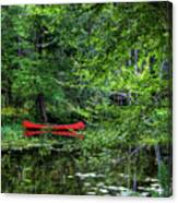 Canoe On The Shore Canvas Print