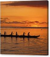 Canoe Paddlers Silhouette Canvas Print
