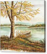Canoe Tied By Tree Canvas Print