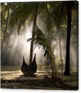 Canoe Under Palm Trees In Kerala, India Canvas Print
