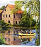 Canoeing Past The Mill Canvas Print