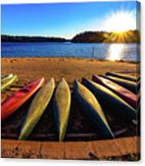 Canoes At Sunset Canvas Print