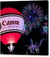 Canon - See Impossible - Hot Air Balloon With Fireworks Canvas Print