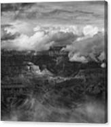 Canyon In Clouds Bw Canvas Print