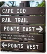 Cape Cod Rail Trail Sign Eastham Canvas Print