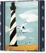 Cape Hatteras Lighthouse - Ship Wheel Border Canvas Print