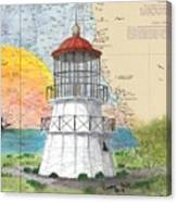 Cape Mendocino Lighthouse Ca Nautical Chart Map Canvas Print