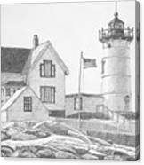 Cape Neddick Light House Drawing Canvas Print