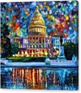 Capital At Night - Washington Canvas Print