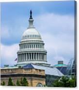 Capitol Over The Botanical Garden Canvas Print