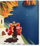 Capri Island, Bay Of Naples, Italy - Retro Travel Poster - Vintage Poster Canvas Print