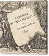 Capricci Di Varie Battaglie (title Page) Canvas Print