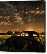 Car And The Milky Way Canvas Print