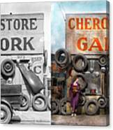 Car - Garage - Cherokee Parts Store - 1936 - Side By Side Canvas Print