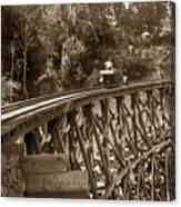 Car On A Wooden Railroad Trestle Circa 1916 Canvas Print