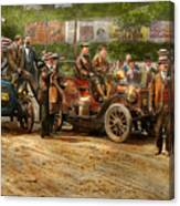Car - Race - The End Of A Long Journey 1906 Canvas Print