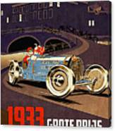 Car Racing Christmas Poster Of The 30s Canvas Print