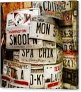 Car Tags Canvas Print