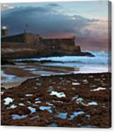 Fort In Carcavelos Beach Canvas Print