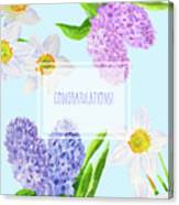 Card With Spring Flowers Canvas Print
