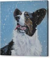 Cardigan Welsh Corgi In Snow Canvas Print