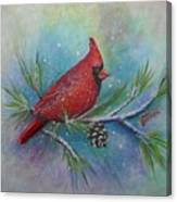 Cardinal And Delta Snow Canvas Print