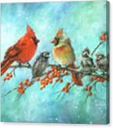 Cardinal Family Three Kids Canvas Print