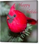 Cardinal Happy Holidays Canvas Print