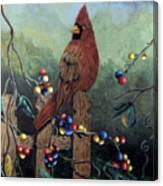 Cardinal Sitting On A Fence Canvas Print