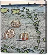 Caribbean Map Canvas Print