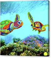 Caribbean Sea Turtle And Reef Fish Canvas Print