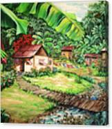 Caribbean Village Life Canvas Print