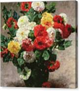 Carnations In A Vase Canvas Print