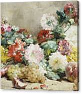Carnations, Roses, Grapes And Peaches Canvas Print