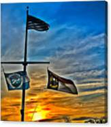 Carolina Beach Lake Flag Pole V2 Canvas Print