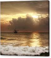 Carolina Beach Shrimp Boat At Sunrise Canvas Print