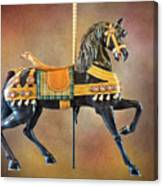 Carousel Black Stallion Body Canvas Print