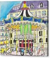 Carousel Paris Illustration Hand Drawn Canvas Print