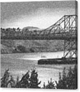 Carquinez Bridge Pointilized B And W Canvas Print