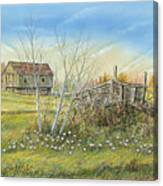 Cart And Barn On A Spring Day Canvas Print