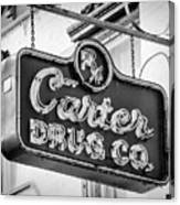 Carter Drug Co - Bw Canvas Print