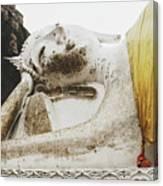 Carved Stone Buddha Statue Wat Temple Complex In Old Siam Kingdom, Ayutthaya, Thailand Canvas Print