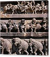Carving On The Wall Of A Temple Canvas Print