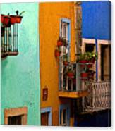 Casas In Mint Terracotta And Blue Canvas Print
