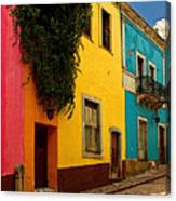 Casas In Pink Orange Yellow Blue Canvas Print