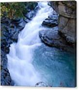 Cascade In The Maligne Canyon Canvas Print